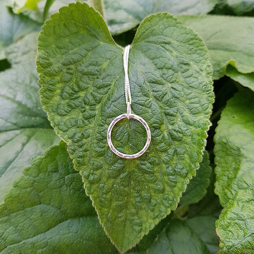 Sterling Silver Hammered Circle Necklace -various sizes