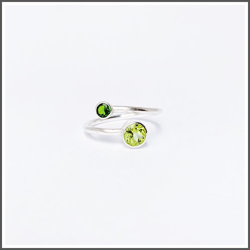 Adjustable peridot and chrome diopside silver ring