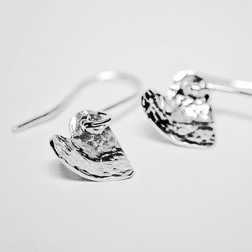 Sterling silver hammered domed heart earrings