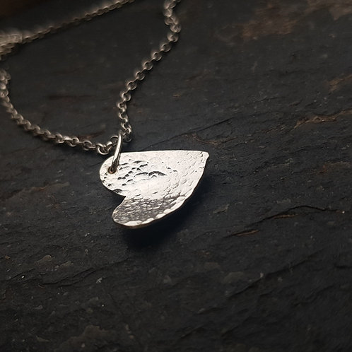 Sterling silver hammered texture domed heart necklace - various sizes