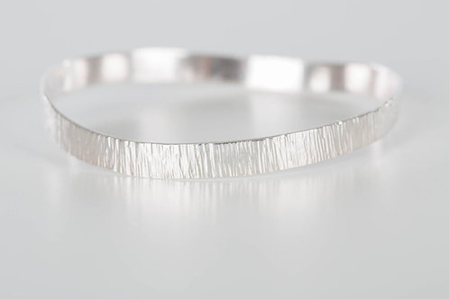 Sterling silver bark textured wide bangle