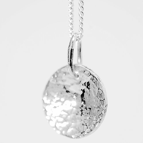 Silver necklace - hammered domed disc necklace - various sizes