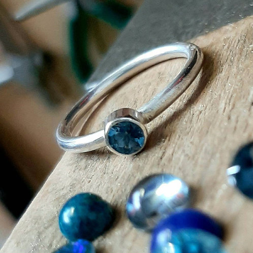Blue topaz stone silver stacking ring