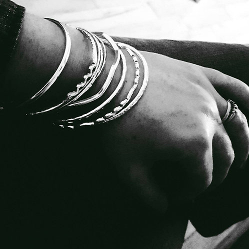 Five silver bangles - 10% off