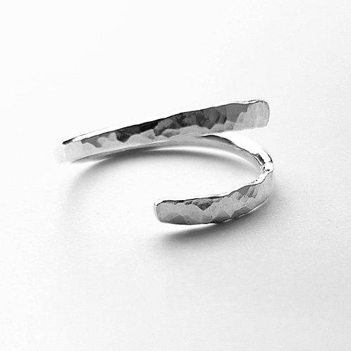 Adjustable hammered sterling silver ring
