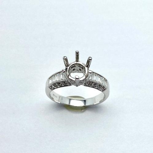 18 Karat White Gold Diamond Semi-Mount Ring