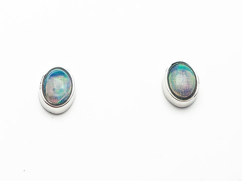 14 karat white gold opal earrings