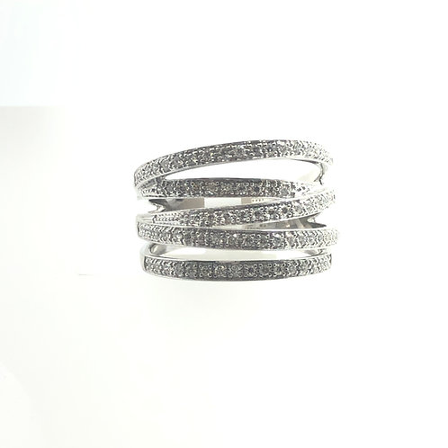 14K White Gold Free Form Diamond Ring