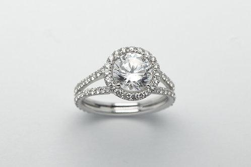 18 karat white gold semi mount engagement ring