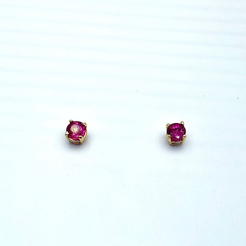 14 Karat Yellow Gold Ruby Earstuds