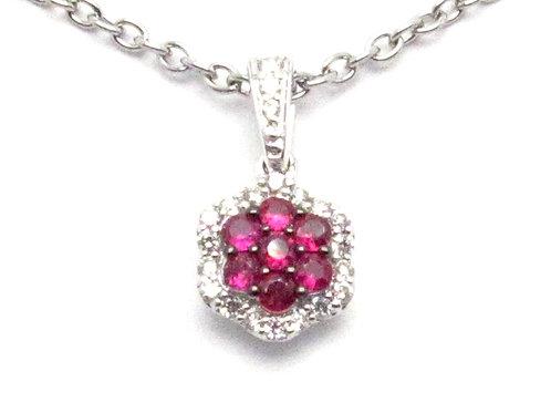 14 karat white gold diamond and ruby necklace