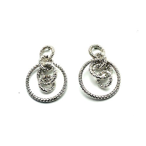 Sterling Silver Rippling Rings Earrings