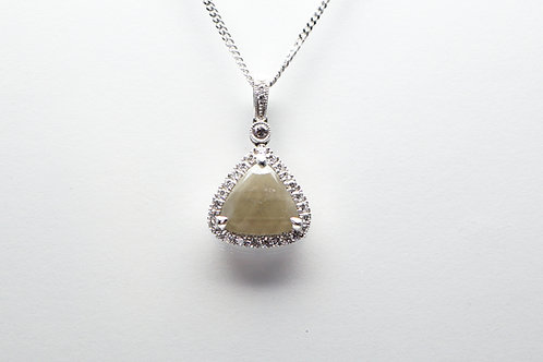 14 karat white gold rough diamond pendant