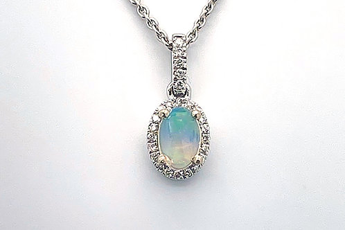 14K White Gold Opal Pendant (chain not included)