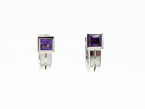 14 karat white gold amethyst earrings