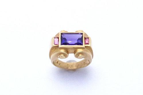 14 karat yellow gold amethyst and garnet ring