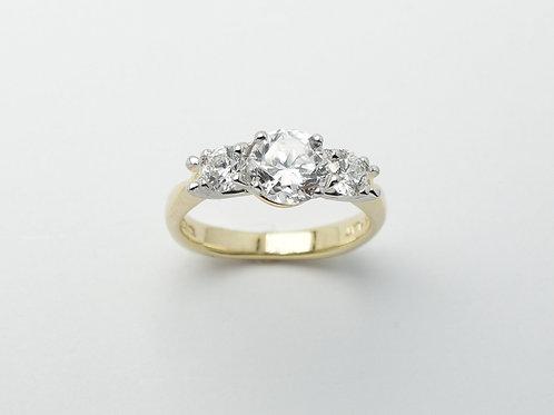 18 karat yellow gold and platinum semi mount diamond engagement ring