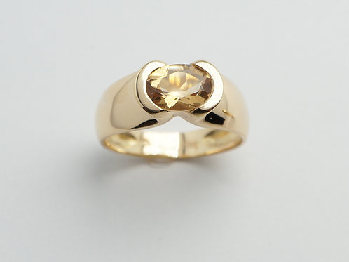 18 karat yellow gold citrine ring