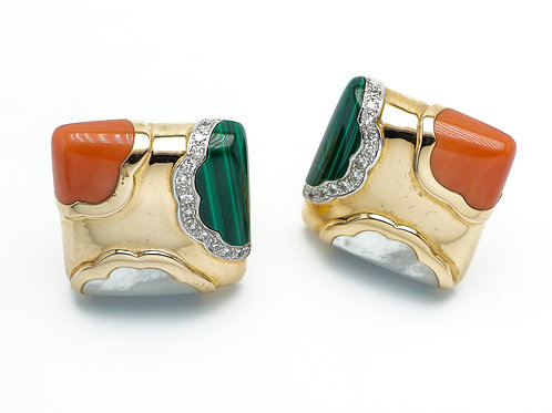 14 karat yellow gold coral, malachite, mother of pearl and diamond earrings