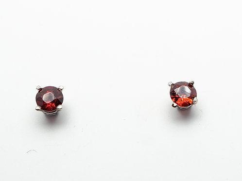 14 karat white gold garnet earrings