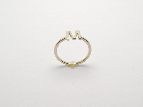 14 karat yellow gold stackable initial ring