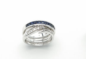 Curt Parker Jewelers diamond and sapphire ring