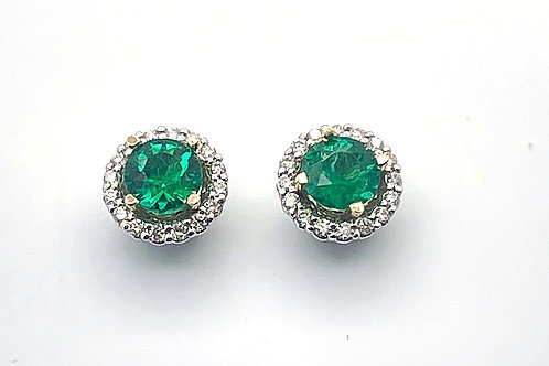 White Gold Emerald and Diamond Earrings (removable jackets)