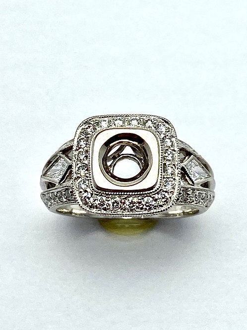 18 Karat White Gold Semi Mount Ring