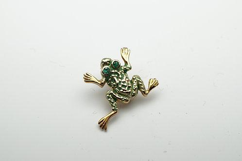 18 karat yellow gold emerald and green enamel pin