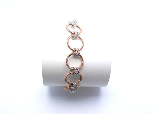 Sterling silver and rose gold plated bracelet