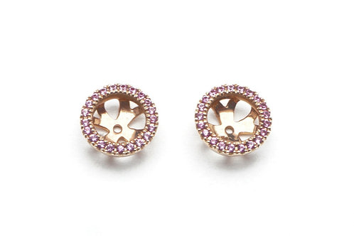 18 karat rose gold pink sapphire earring jackets
