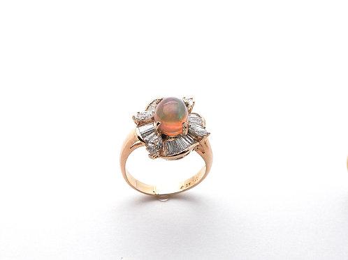 18 karat yellow gold opal and diamond ring