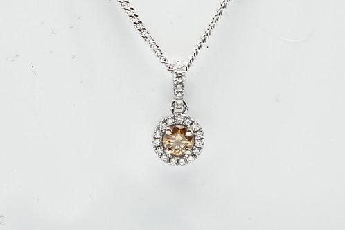 18 karat natural orange diamond pendant