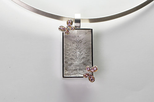 14 karat white gold and rose gold diamond, pink sapphire and quartz pendant