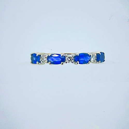 14K White Gold and Blue Sapphire Ring