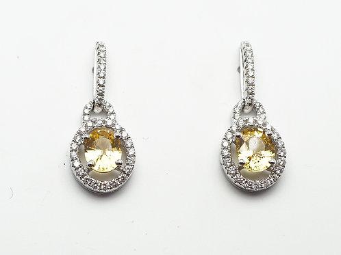 18 karat white gold yellow sapphire and diamond earrings