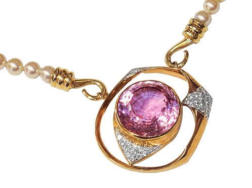 14 karat yellow gold pearl, diamond and kunzite necklace