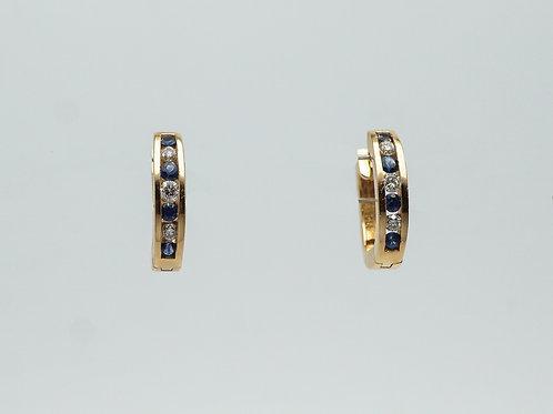 14 karat yellow gold sapphire and diamond earrings