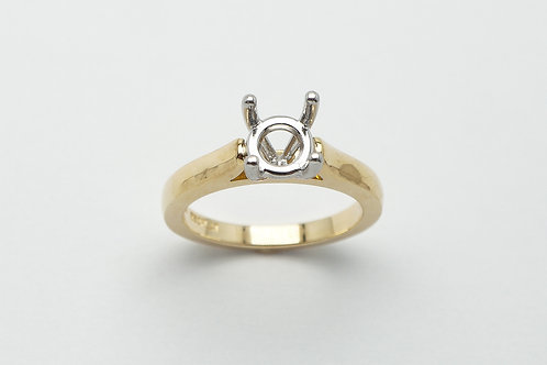 18 karat yellow gold and platinum solitaire engagement ring mounting