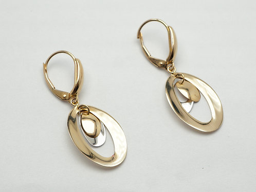 14 karat yellow gold and white gold earrings