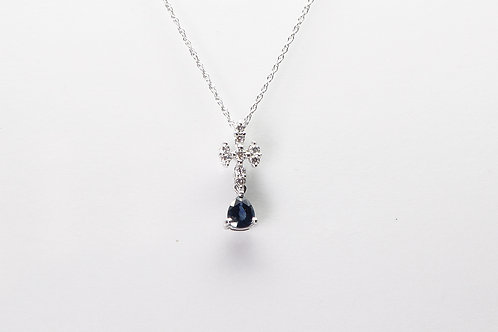 18 karat white gold sapphire and diamond necklace