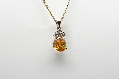 14 karat yellow gold yellow sapphire and diamond pendant