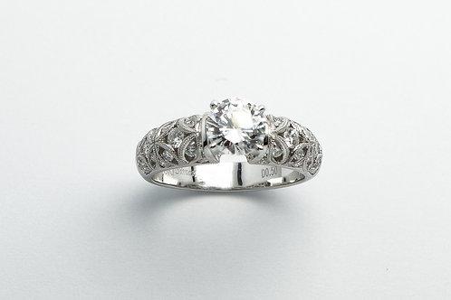18 karat white gold diamond semi mount ring