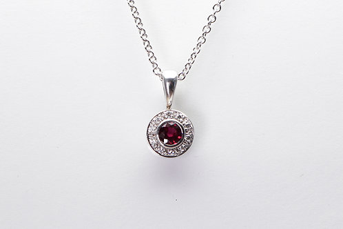 18 karat white gold ruby and diamond necklace
