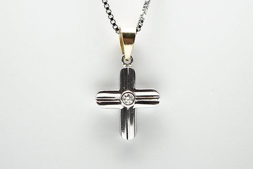 18 karat white gold and yellow gold dimaond cross pendant