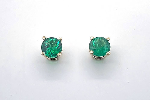 14K White Gold Emerald Stud Earrings .60ct total weight