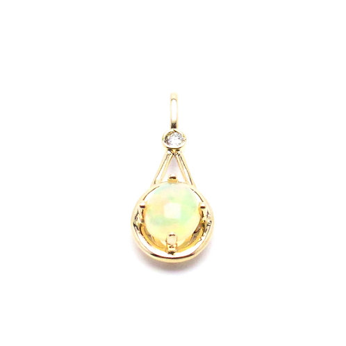 14 karat yellow gold opal and diamond pendant