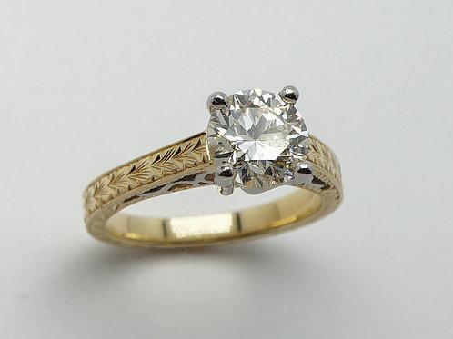 18 karat yellow gold and platinum diamond ring