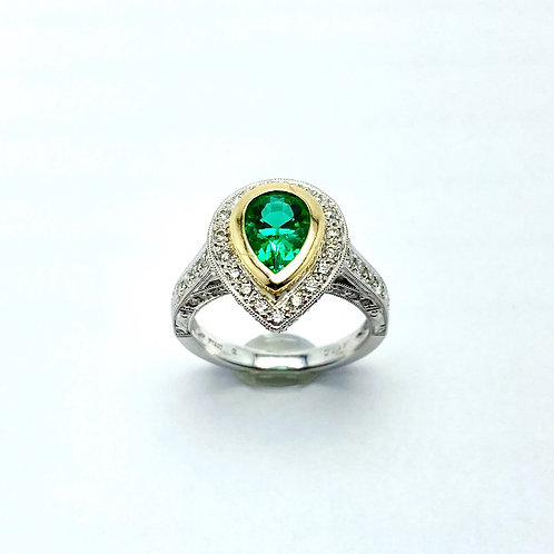 Platinum and 14 Karat Yellow Gold Synthetic Emerald and Diamond Ring