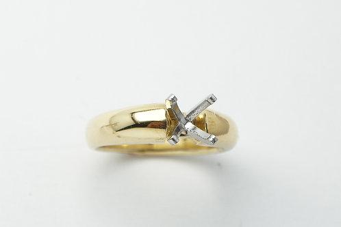 18 karat yellow gold and platinum engagement ring mounting